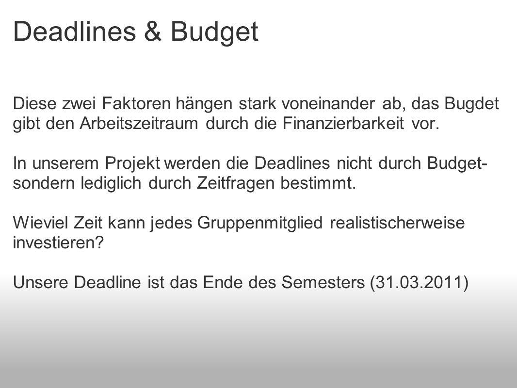 Deadlines & Budget Diese zwei Faktoren hängen stark voneinander ab, das Bugdet gibt den Arbeitszeitraum durch die Finanzierbarkeit vor.