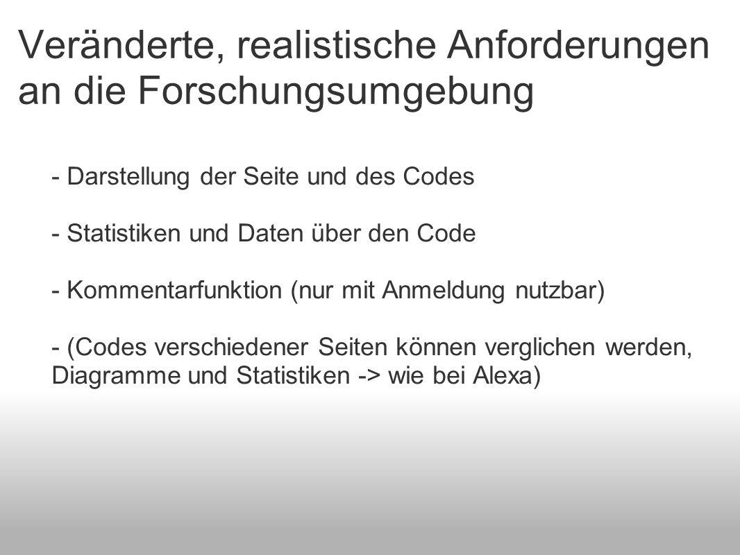 Veränderte, realistische Anforderungen an die Forschungsumgebung - Darstellung der Seite und des Codes - Statistiken und Daten über den Code - Komment