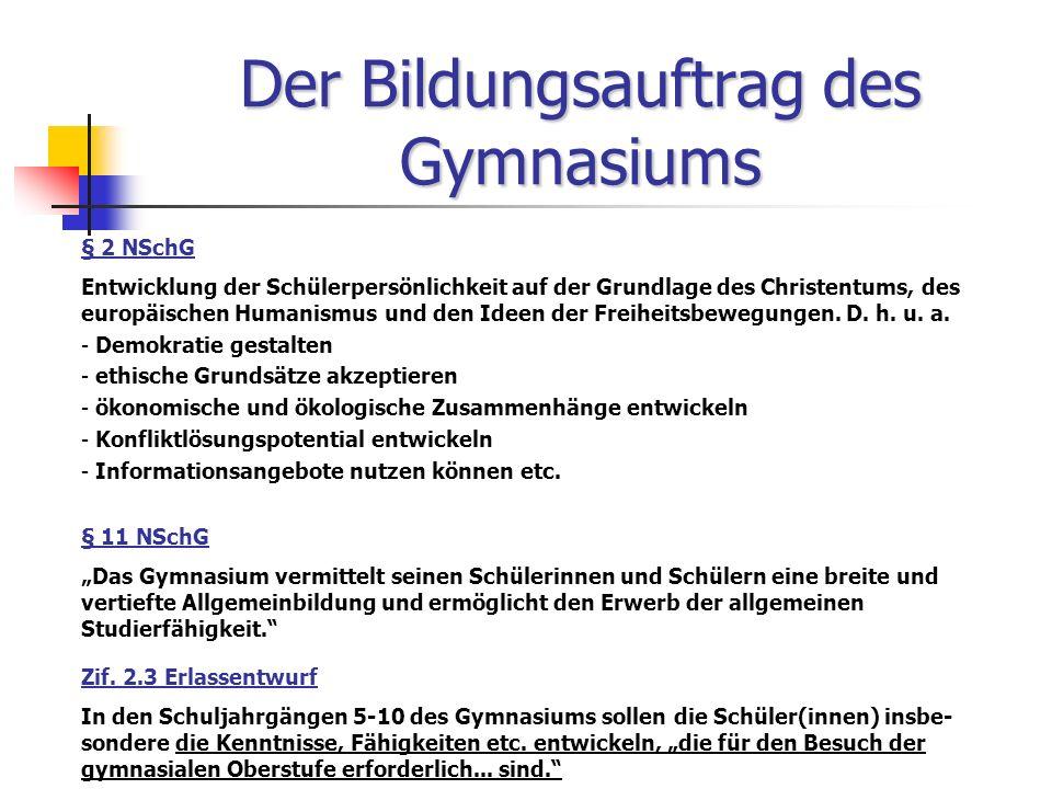 Der Bildungsauftrag des Gymnasiums § 2 NSchG Entwicklung der Schülerpersönlichkeit auf der Grundlage des Christentums, des europäischen Humanismus und