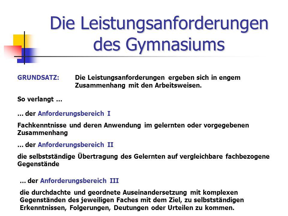 Die Leistungsanforderungen des Gymnasiums GRUNDSATZ:Die Leistungsanforderungen ergeben sich in engem Zusammenhang mit den Arbeitsweisen. So verlangt..
