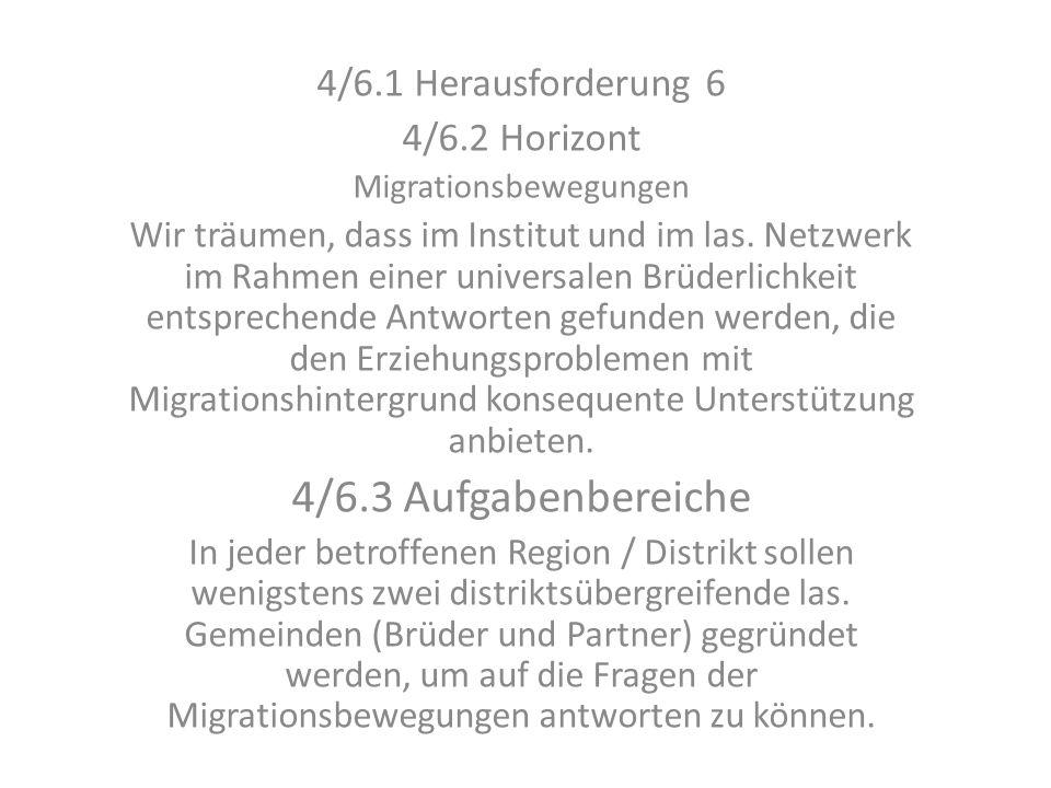 4/6.1 Herausforderung 6 4/6.2 Horizont Migrationsbewegungen Wir träumen, dass im Institut und im las. Netzwerk im Rahmen einer universalen Brüderlichk