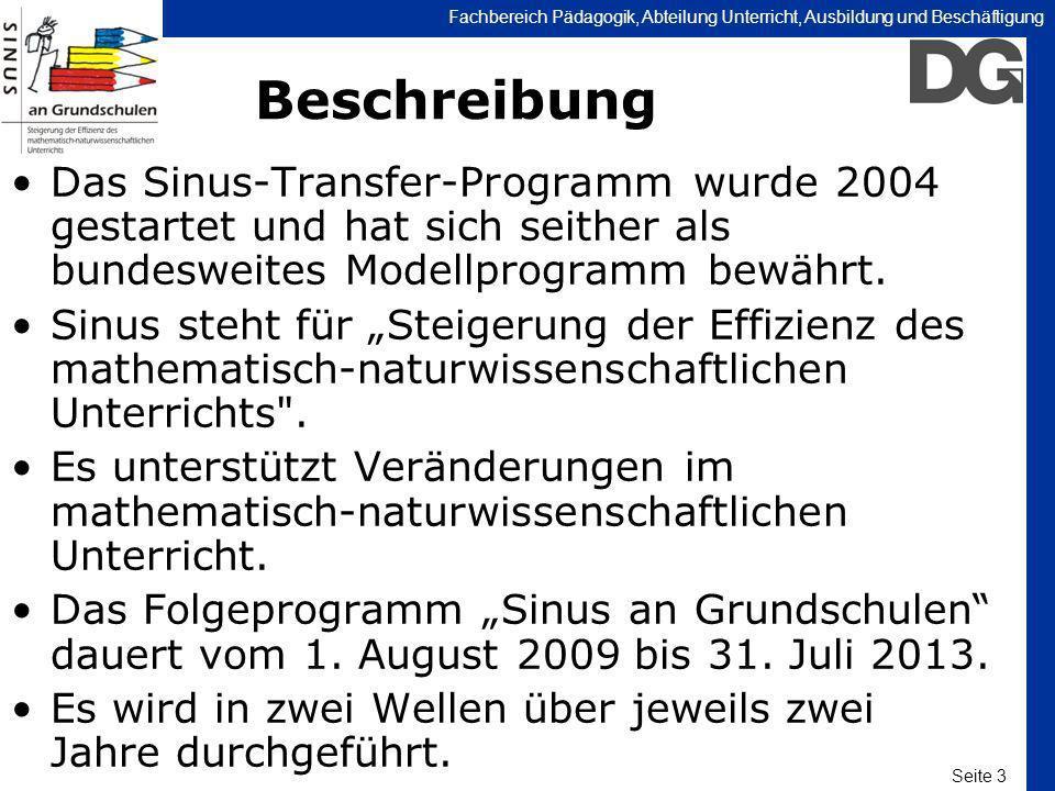 Seite 3 Fachbereich Pädagogik, Abteilung Unterricht, Ausbildung und Beschäftigung Beschreibung Das Sinus-Transfer-Programm wurde 2004 gestartet und ha