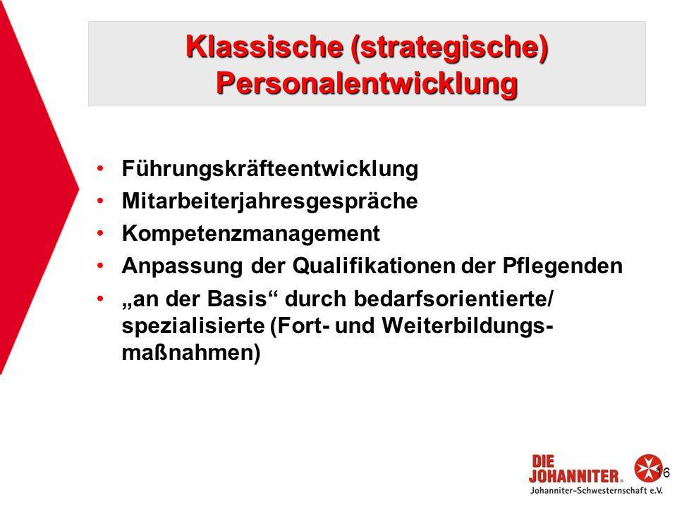 Klassische (strategische) Personalentwicklung Führungskräfteentwicklung Mitarbeiterjahresgespräche Kompetenzmanagement Anpassung der Qualifikationen d