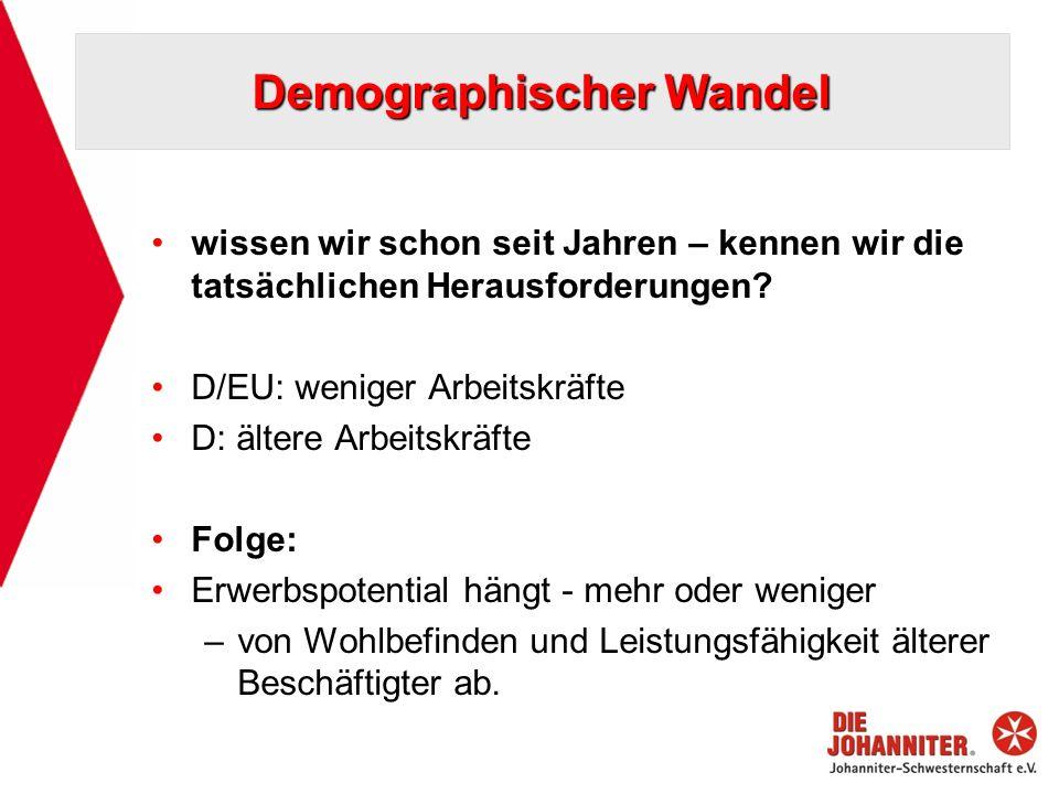 Demographischer Wandel wissen wir schon seit Jahren – kennen wir die tatsächlichen Herausforderungen? D/EU: weniger Arbeitskräfte D: ältere Arbeitskrä
