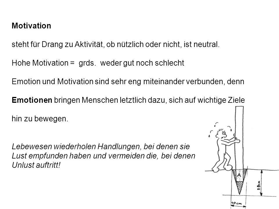Motivation steht für Drang zu Aktivität, ob nützlich oder nicht, ist neutral. Hohe Motivation = grds. weder gut noch schlecht Emotion und Motivation s