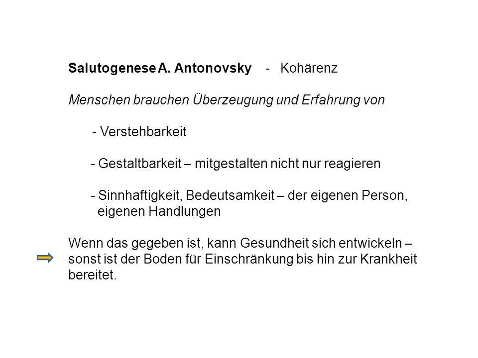 Salutogenese A. Antonovsky - Kohärenz Menschen brauchen Überzeugung und Erfahrung von - Verstehbarkeit - Gestaltbarkeit – mitgestalten nicht nur reagi