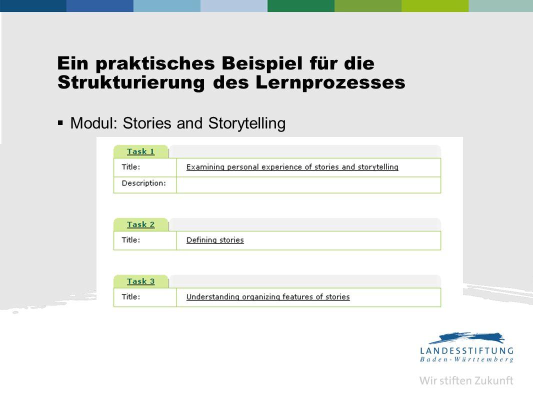 Ein praktisches Beispiel für die Strukturierung des Lernprozesses Modul: Stories and Storytelling