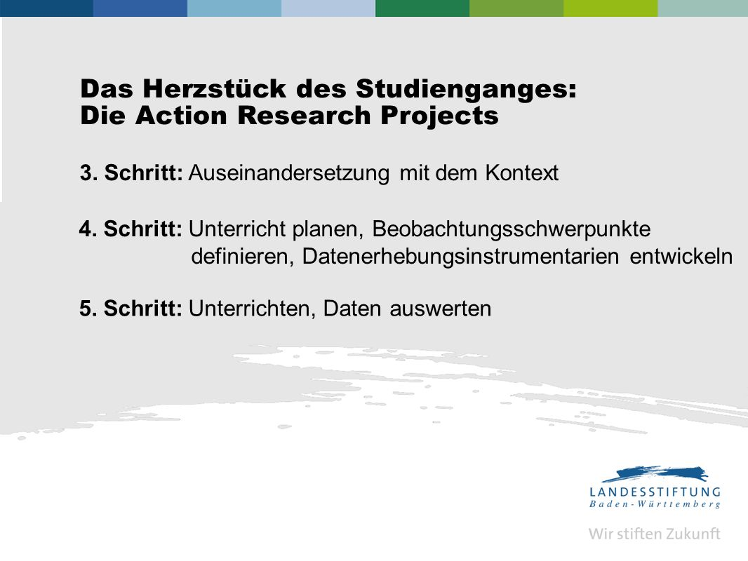 Das Herzstück des Studienganges: Die Action Research Projects 3.
