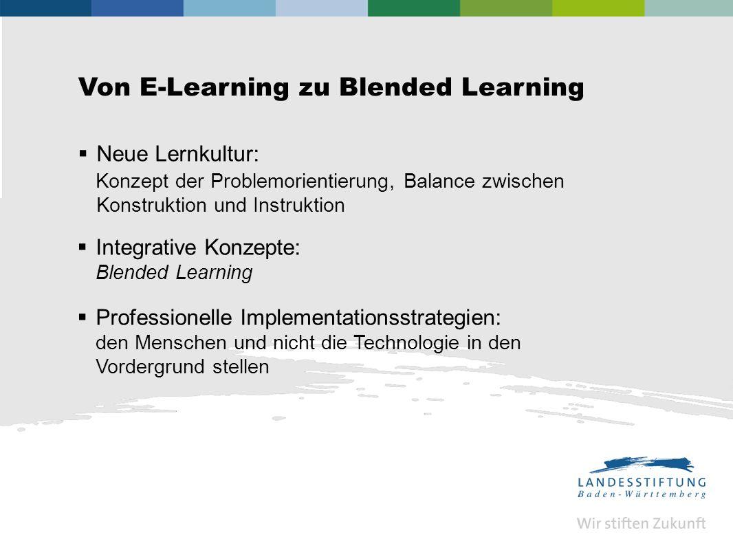 Von E-Learning zu Blended Learning Neue Lernkultur: Konzept der Problemorientierung, Balance zwischen Konstruktion und Instruktion Integrative Konzepte: Blended Learning Professionelle Implementationsstrategien: den Menschen und nicht die Technologie in den Vordergrund stellen