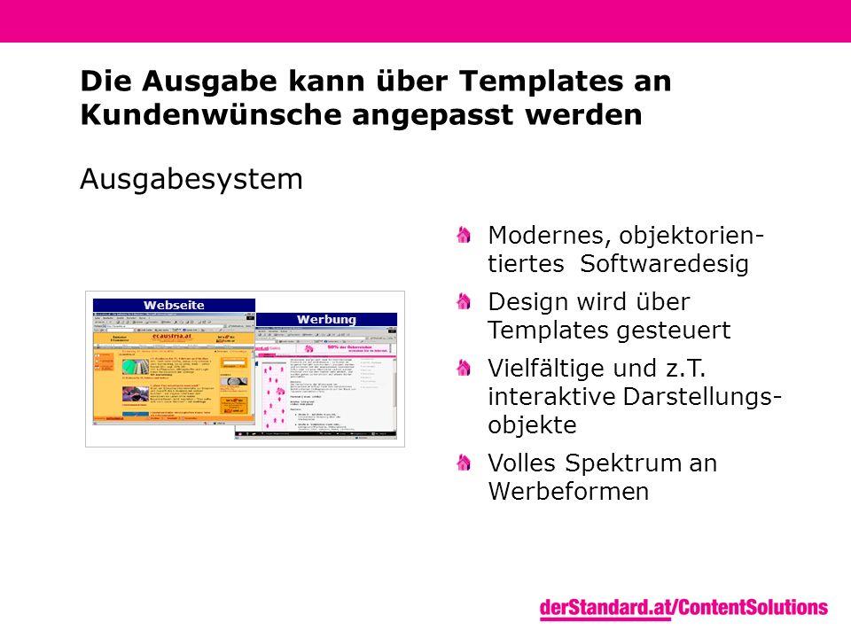 Ausgabesystem Webseite Werbung Modernes, objektorien- tiertes Softwaredesig Design wird über Templates gesteuert Vielfältige und z.T.