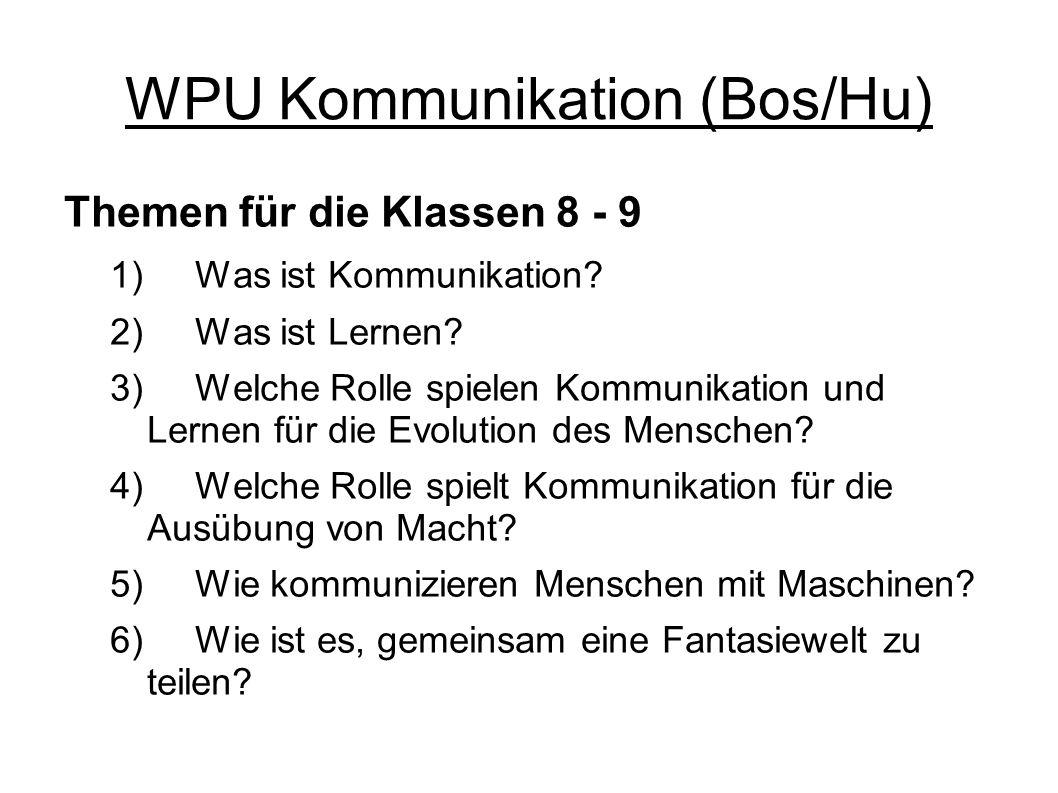WPU Kommunikation (Bos/Hu) Themen für die Klassen 8 - 9 1) Was ist Kommunikation? 2) Was ist Lernen? 3) Welche Rolle spielen Kommunikation und Lernen