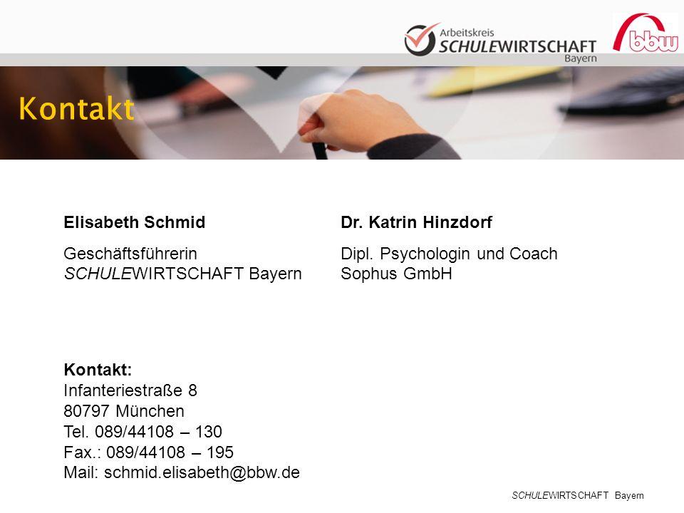 SCHULEWIRTSCHAFT Bayern Kontakt Elisabeth Schmid Geschäftsführerin SCHULEWIRTSCHAFT Bayern Dr. Katrin Hinzdorf Dipl. Psychologin und Coach Sophus GmbH