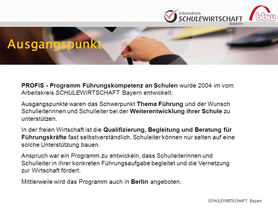 SCHULEWIRTSCHAFT Bayern Ausgangspunkt PROFIS - Programm Führungskompetenz an Schulen wurde 2004 im vom Arbeitskreis SCHULEWIRTSCHAFT Bayern entwickelt.