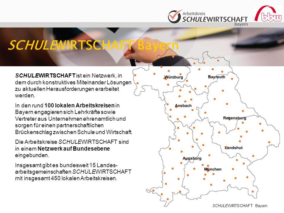 SCHULEWIRTSCHAFT Bayern SCHULEWIRTSCHAFT ist ein Netzwerk, in dem durch konstruktives Miteinander Lösungen zu aktuellen Herausforderungen erarbeitet werden.