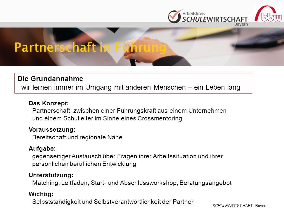 SCHULEWIRTSCHAFT Bayern Die Grundannahme wir lernen immer im Umgang mit anderen Menschen – ein Leben lang Partnerschaft in Führung Das Konzept: Partne