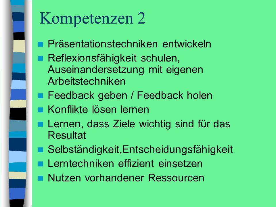 Kompetenzen 2 Präsentationstechniken entwickeln Reflexionsfähigkeit schulen, Auseinandersetzung mit eigenen Arbeitstechniken Feedback geben / Feedback