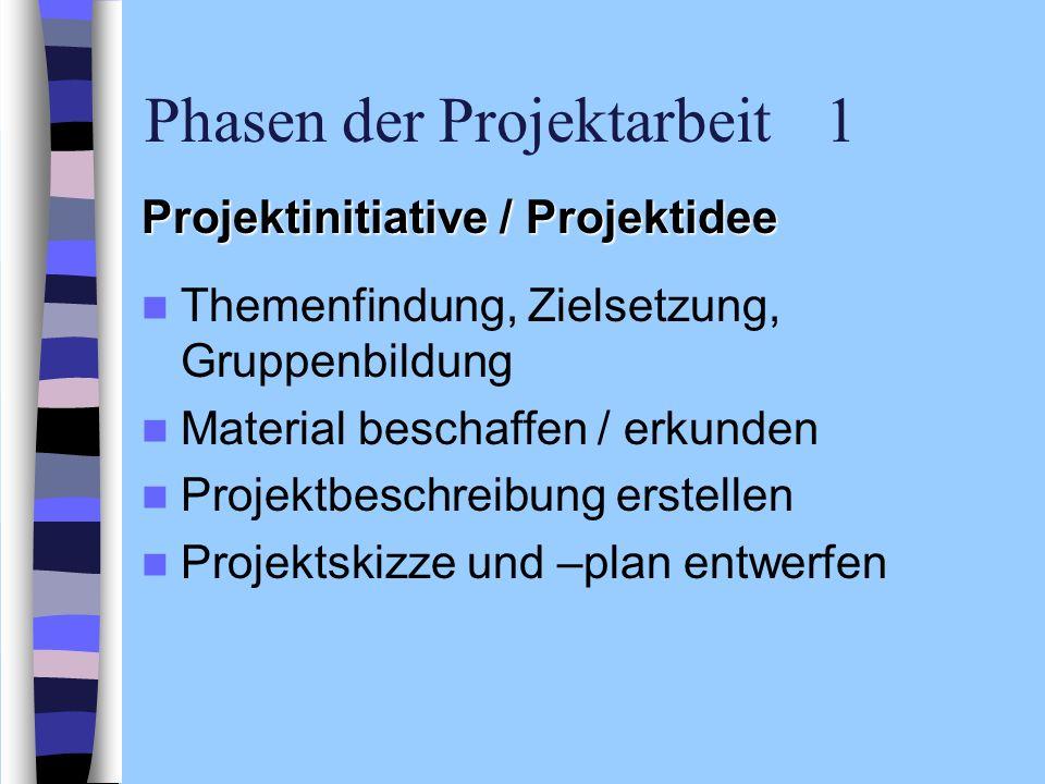 Phasen der Projektarbeit 1 Projektinitiative / Projektidee Themenfindung, Zielsetzung, Gruppenbildung Material beschaffen / erkunden Projektbeschreibu