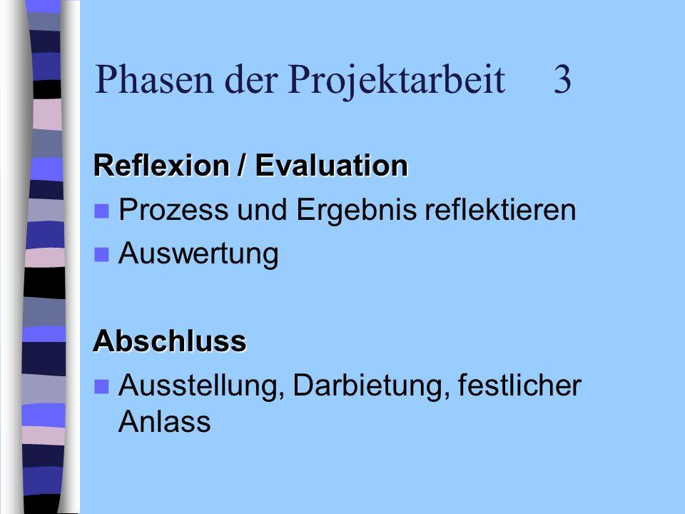 Phasen der Projektarbeit 3 Reflexion / Evaluation Prozess und Ergebnis reflektieren AuswertungAbschluss Ausstellung, Darbietung, festlicher Anlass