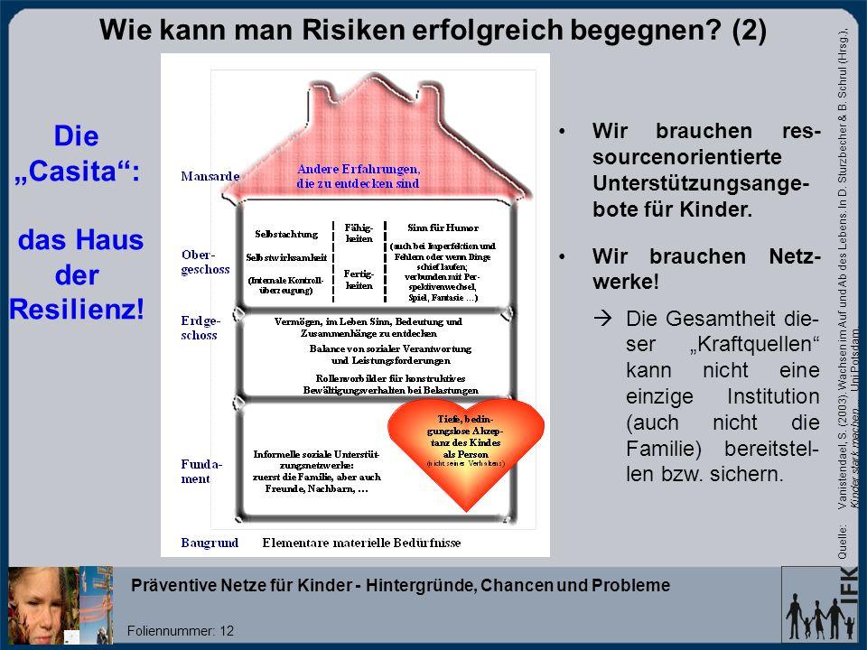 Präventive Netze für Kinder - Hintergründe, Chancen und Probleme Foliennummer: 12 Die Casita: das Haus der Resilienz.