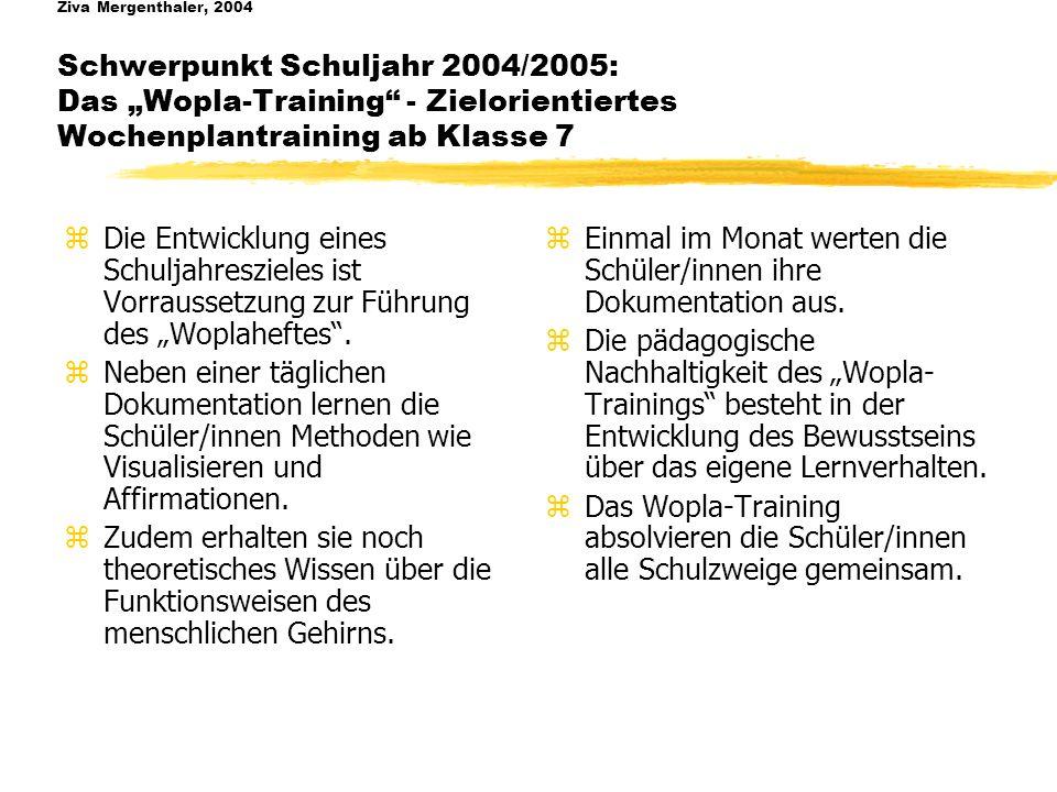 Ziva Mergenthaler, 2004 Schwerpunkt Schuljahr 2004/2005: Das Wopla-Training - Zielorientiertes Wochenplantraining ab Klasse 7 zDie Entwicklung eines Schuljahreszieles ist Vorraussetzung zur Führung des Woplaheftes.