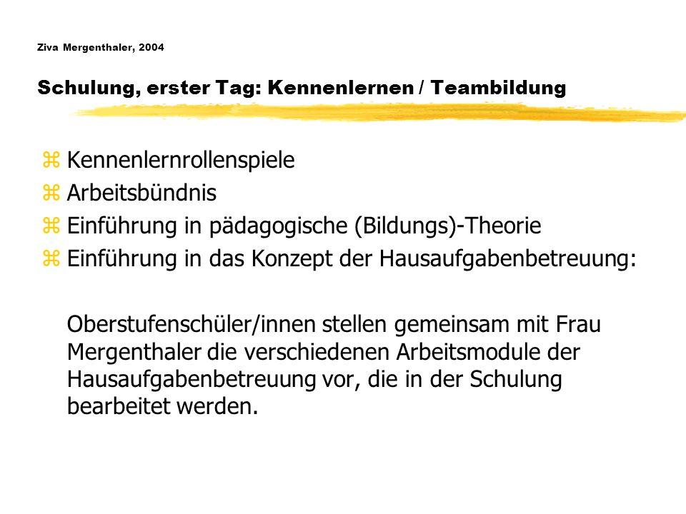 Ziva Mergenthaler, 2004 Schulung, erster Tag: Kennenlernen / Teambildung zKennenlernrollenspiele zArbeitsbündnis zEinführung in pädagogische (Bildungs