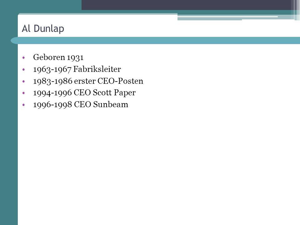 Al Dunlap Geboren 1931 1963-1967 Fabriksleiter 1983-1986 erster CEO-Posten 1994-1996 CEO Scott Paper 1996-1998 CEO Sunbeam