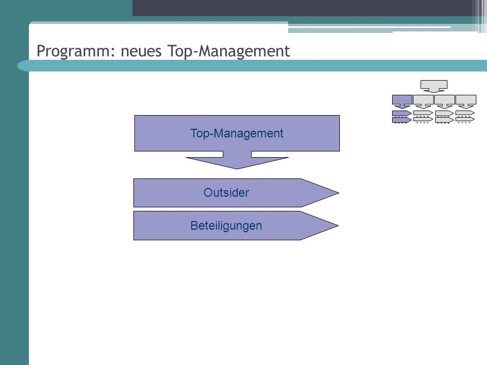 Programm: neues Top-Management Outsider Top-Management Beteiligungen....