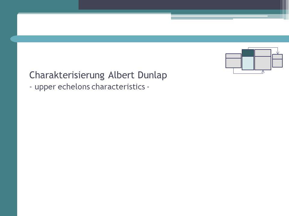 Charakterisierung Albert Dunlap - upper echelons characteristics -