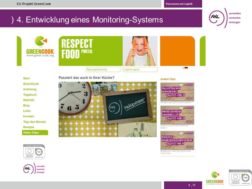 ) S _ 12 EU-Projekt GreenCook Ressourcen und Logistik 4. Entwicklung eines Monitoring-Systems
