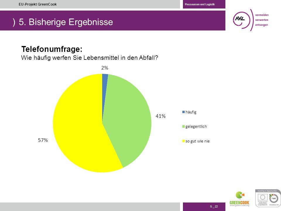 ) S _ 22 EU-Projekt GreenCook Ressourcen und Logistik 5.