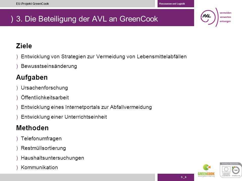 ) S _ 17 EU-Projekt GreenCook Ressourcen und Logistik 4. Monitoring System