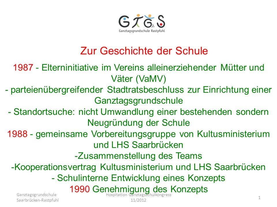 Ganztagsgrundschule Saarbrücken-Rastpfuhl Hospitation Ganztagsschulkongress 11/2012 1 Zur Geschichte der Schule 1987 - Elterninitiative im Vereins all