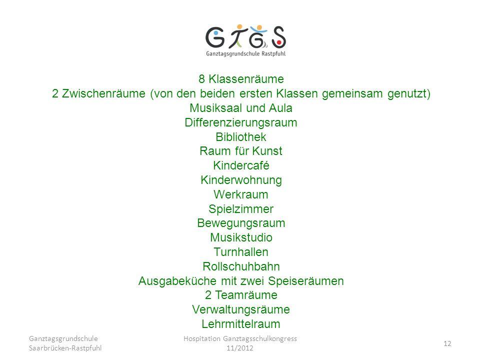 Ganztagsgrundschule Saarbrücken-Rastpfuhl Hospitation Ganztagsschulkongress 11/2012 12 8 Klassenräume 2 Zwischenräume (von den beiden ersten Klassen g