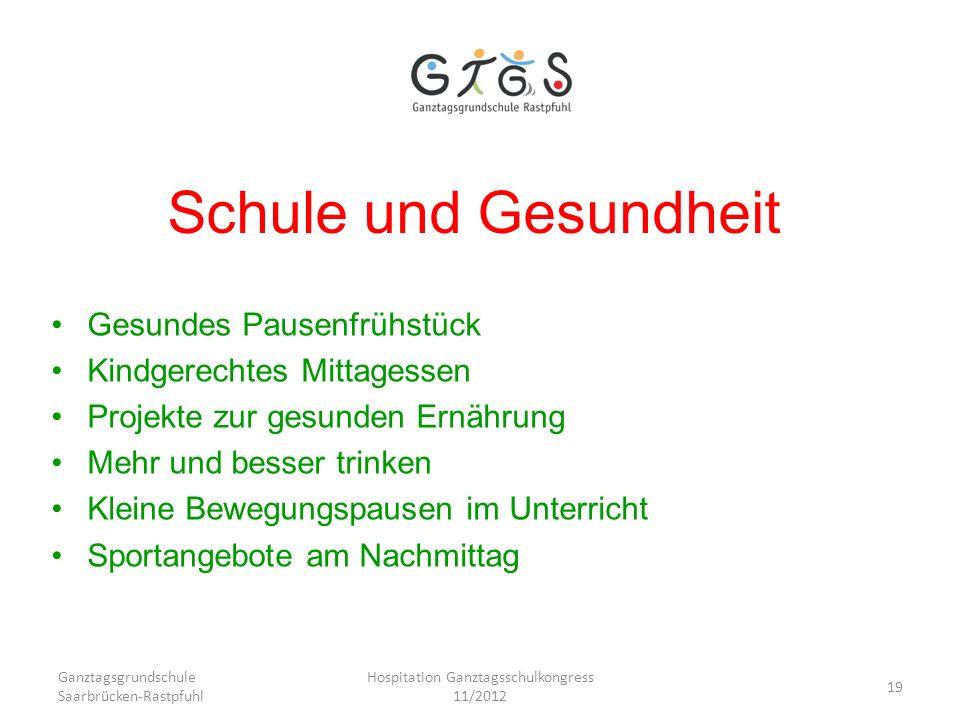 Ganztagsgrundschule Saarbrücken-Rastpfuhl Hospitation Ganztagsschulkongress 11/2012 19 Schule und Gesundheit Gesundes Pausenfrühstück Kindgerechtes Mi