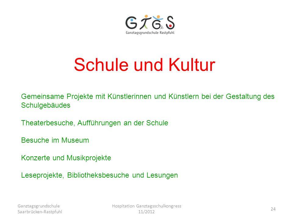 Ganztagsgrundschule Saarbrücken-Rastpfuhl Hospitation Ganztagsschulkongress 11/2012 24 Schule und Kultur Gemeinsame Projekte mit Künstlerinnen und Kün