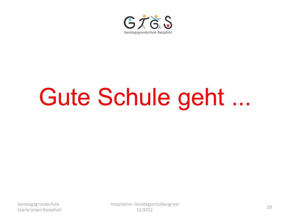Ganztagsgrundschule Saarbrücken-Rastpfuhl Hospitation Ganztagsschulkongress 11/2012 29 Gute Schule geht...