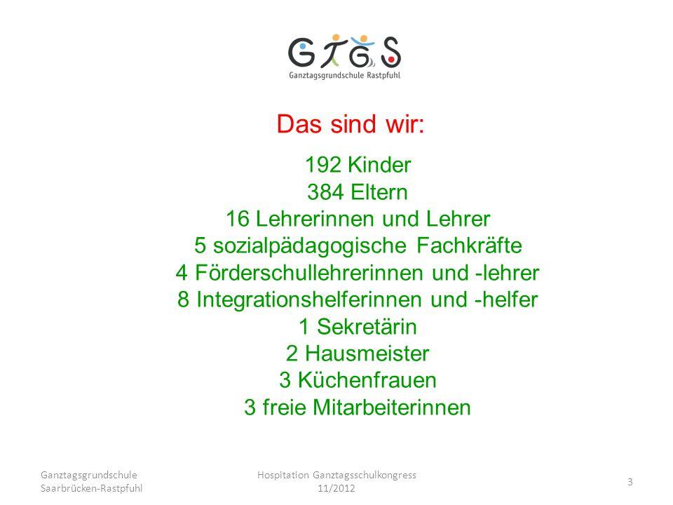 Ganztagsgrundschule Saarbrücken-Rastpfuhl Hospitation Ganztagsschulkongress 11/2012 3 Das sind wir: 192 Kinder 384 Eltern 16 Lehrerinnen und Lehrer 5