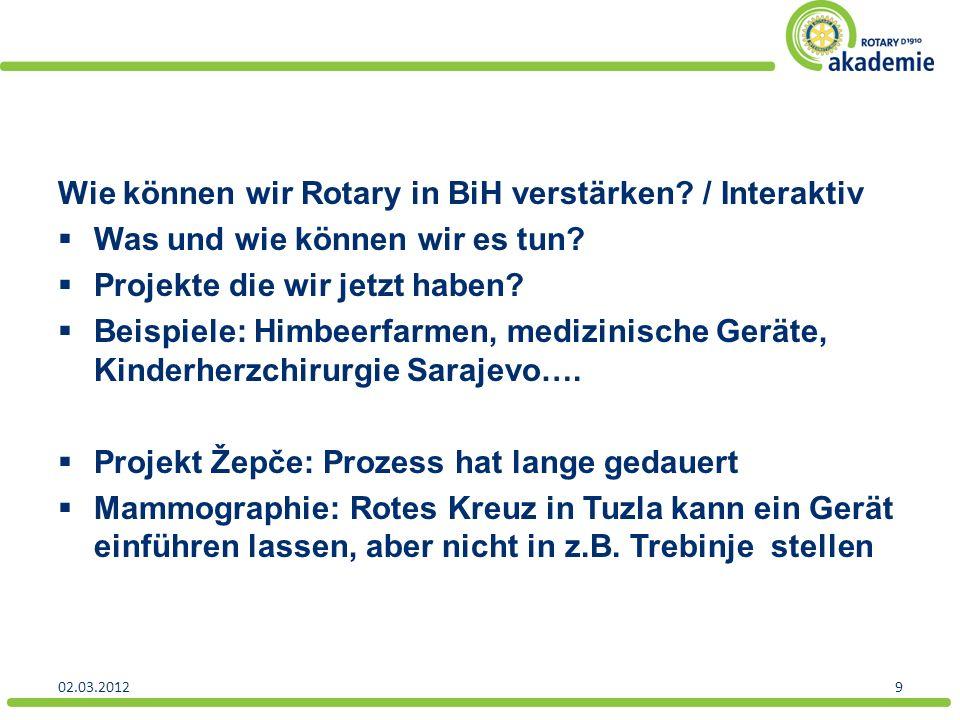 Wie können wir Rotary in BiH verstärken. / Interaktiv Was und wie können wir es tun.
