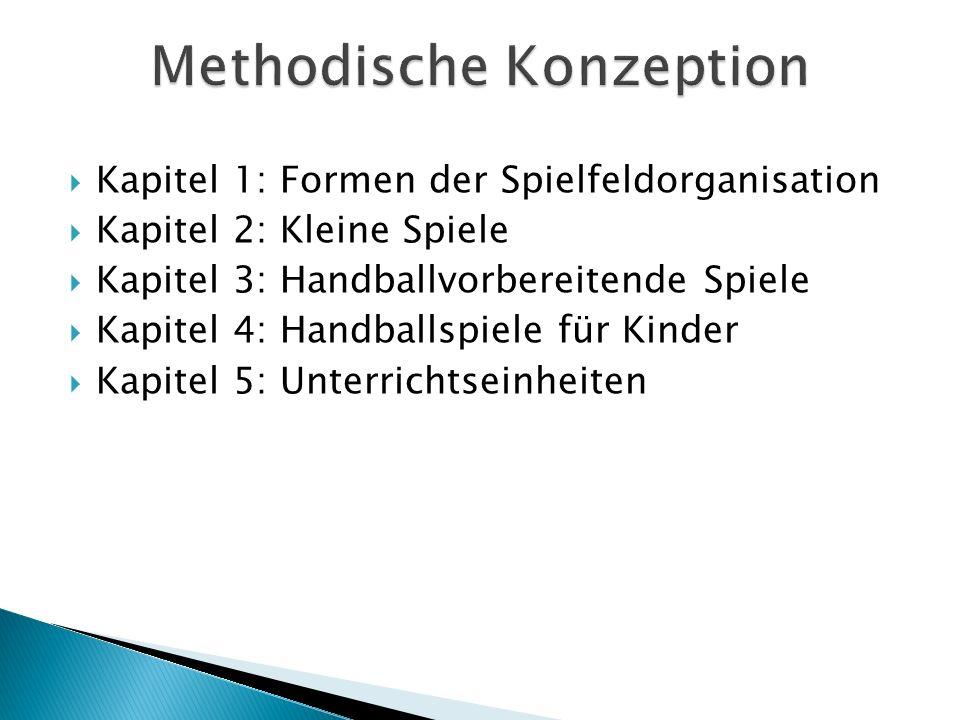 Kapitel 1: Formen der Spielfeldorganisation Kapitel 2: Kleine Spiele Kapitel 3: Handballvorbereitende Spiele Kapitel 4: Handballspiele für Kinder Kapi