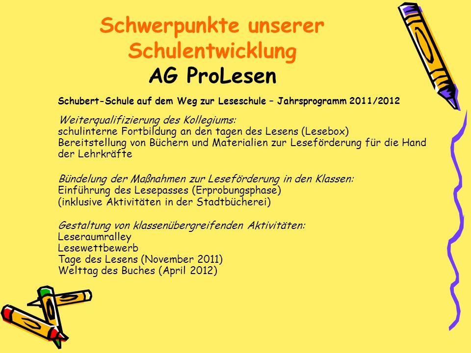 Schwerpunkte unserer Schulentwicklung AG ProLesen Schubert-Schule auf dem Weg zur Leseschule – Jahrsprogramm 2011/2012 Weiterqualifizierung des Kolleg