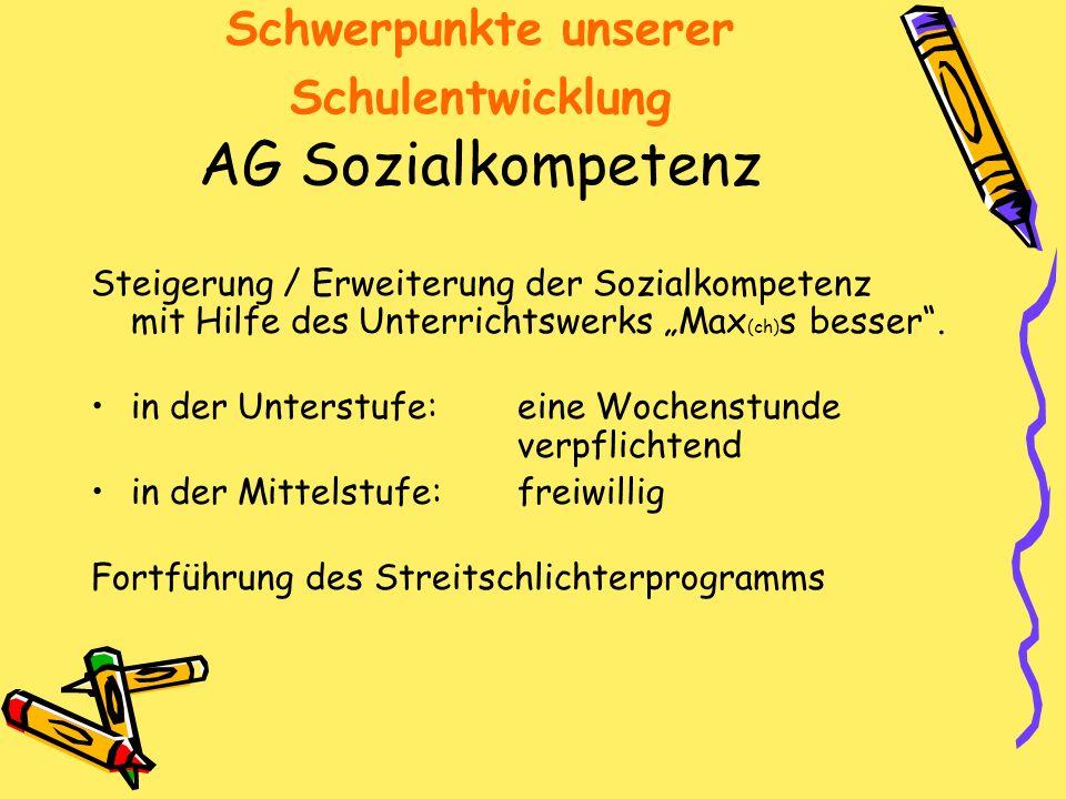 Schwerpunkte unserer Schulentwicklung AG Sozialkompetenz Steigerung / Erweiterung der Sozialkompetenz mit Hilfe des Unterrichtswerks Max (ch) s besser