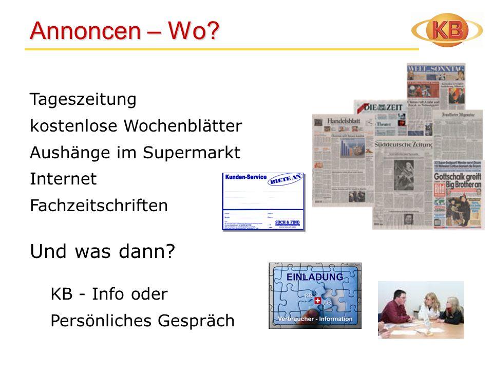 Annoncen – Wo? Annoncen – Wo? Tageszeitung kostenlose Wochenblätter Aushänge im Supermarkt Internet Fachzeitschriften Und was dann? KB - Info oder Per