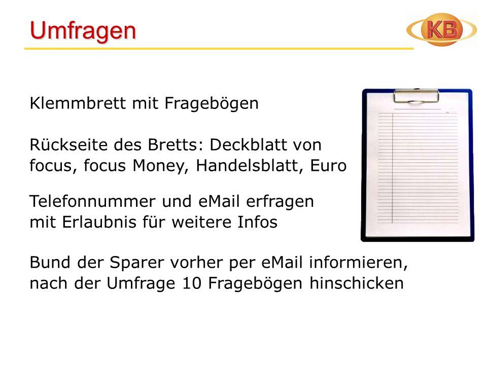 Umfragen Umfragen Klemmbrett mit Fragebögen Rückseite des Bretts: Deckblatt von focus, focus Money, Handelsblatt, Euro Telefonnummer und eMail erfrage