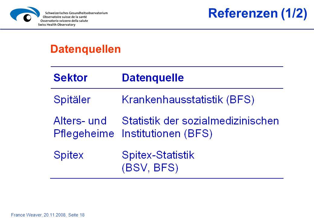 France Weaver, 20.11.2008, Seite 18 Referenzen (1/2) Datenquellen