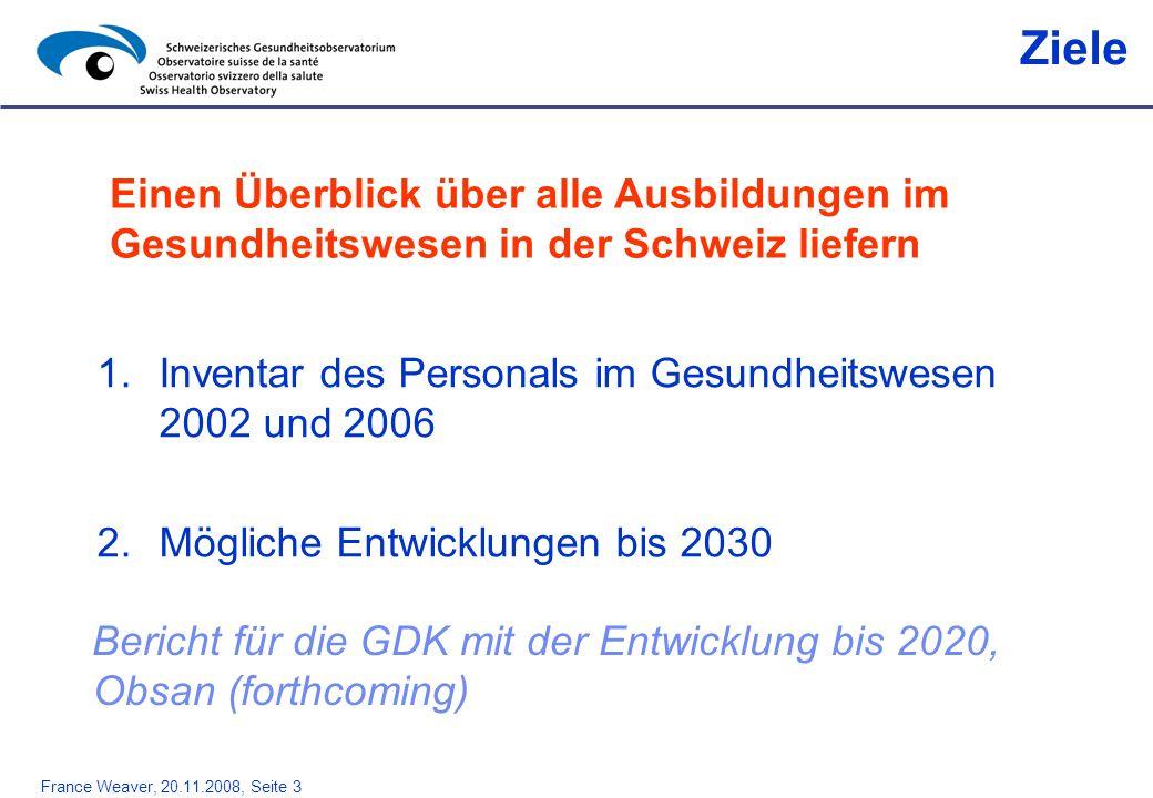 France Weaver, 20.11.2008, Seite 3 1.Inventar des Personals im Gesundheitswesen 2002 und 2006 2.Mögliche Entwicklungen bis 2030 Ziele Einen Überblick