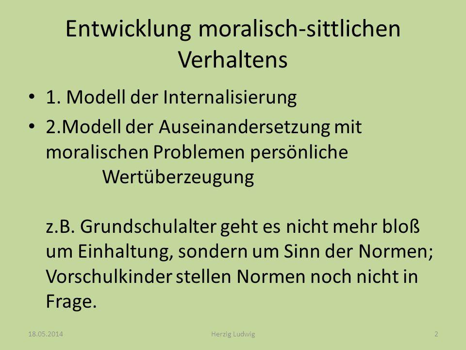 Entwicklung moralisch-sittlichen Verhaltens 1.Stufe: Heteronome Moral (4-7 Jahren) 2.