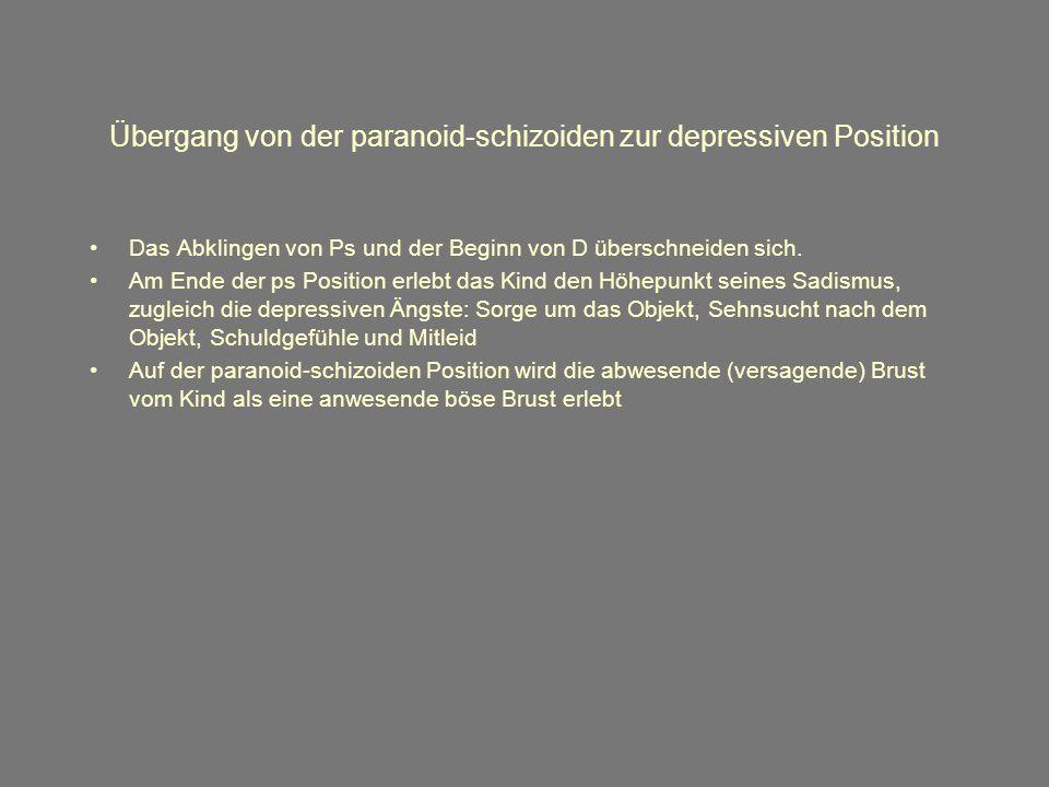 Übergang von der paranoid-schizoiden zur depressiven Position Das Abklingen von Ps und der Beginn von D überschneiden sich.