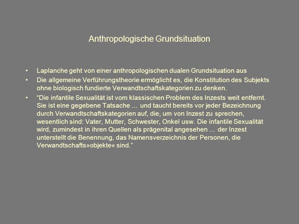 Anthropologische Grundsituation Laplanche geht von einer anthropologischen dualen Grundsituation aus Die allgemeine Verführungstheorie ermöglicht es, die Konstitution des Subjekts ohne biologisch fundierte Verwandtschaftskategorien zu denken.