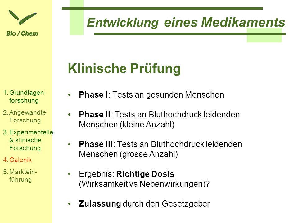 Entwicklung eines Medikaments Klinische Prüfung Phase I: Tests an gesunden Menschen Phase II: Tests an Bluthochdruck leidenden Menschen (kleine Anzahl