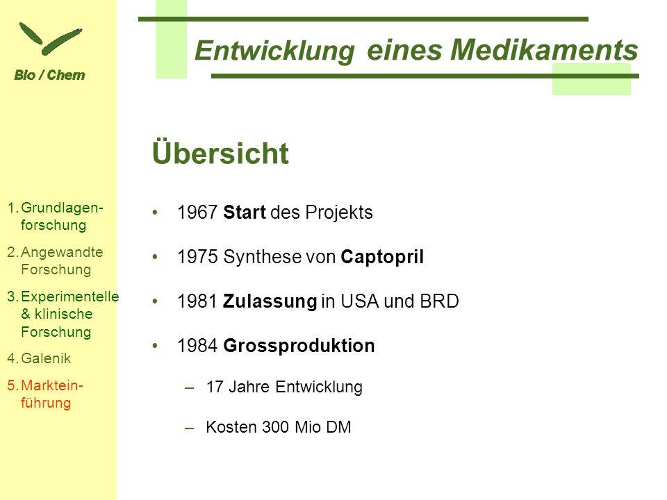 Entwicklung eines Medikaments Übersicht 1967 Start des Projekts 1975 Synthese von Captopril 1981 Zulassung in USA und BRD 1984 Grossproduktion –17 Jah
